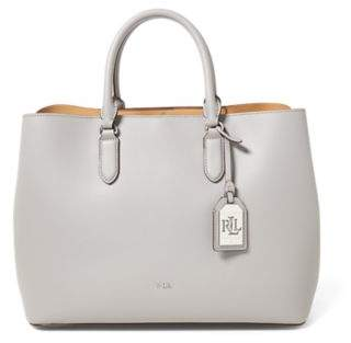 Ralph Lauren Leather Marcy Satchel Light Grey/Palomino One Size