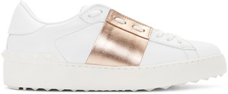 Valentino White & Gold Open Sneakers $695 thestylecure.com