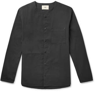Folk Collarless Ripstop-Panelled Cotton-Twill Shirt