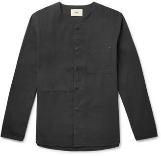 Folk Collarless Ripstop-Panelled Cotton-Twill Shirt - Men - Black