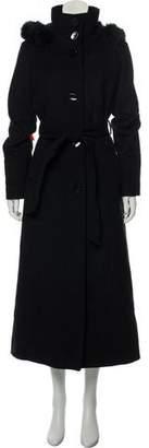 Ellen Tracy Fur-Trimmed Long Coat