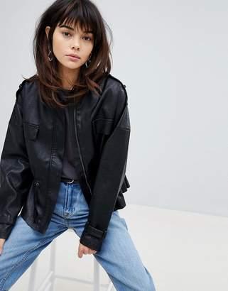 Vero Moda 80'S Leather Look Waisted Jacket