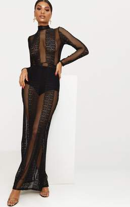 PrettyLittleThing Black Lace Sheer Maxi Dress