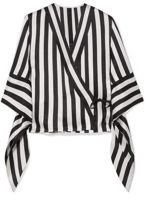 Petar Petrov Striped Silk Wrap Blouse - Black