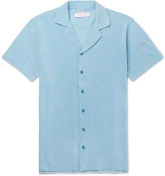 Orlebar Brown Travis Camp-Collar Mélange Cotton-Piqué Shirt