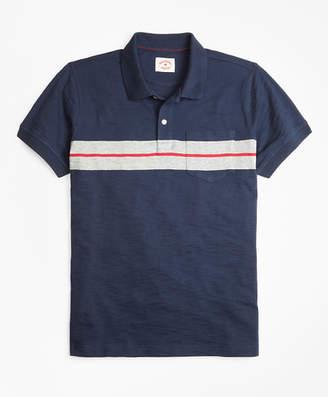 Brooks Brothers Bold Stripe Cotton Jersey Polo Shirt
