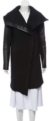 Helmut Lang Leather-Trimmed Knee-Length Coat