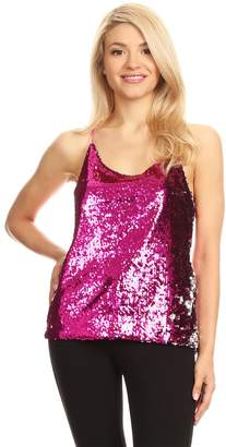 Anna-Kaci Womens All Over Shiny Sequin Spaghetti Strap Vest Tank Top