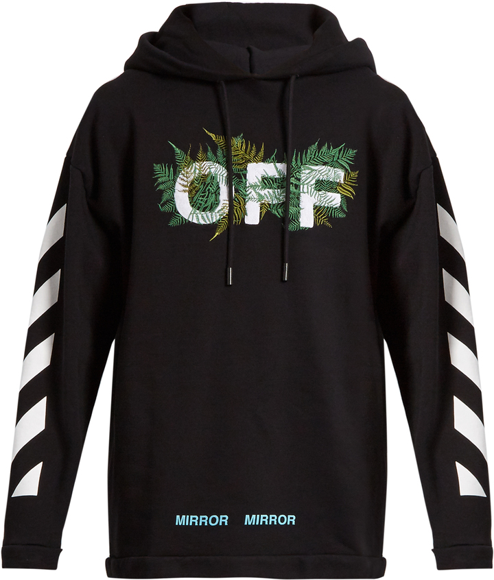 OFF-WHITE Hooded fern-embroidered cotton sweatshirt