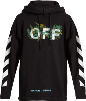 OFF-WHITE Hooded fern-embroidered cotton sweatshirt $346 thestylecure.com