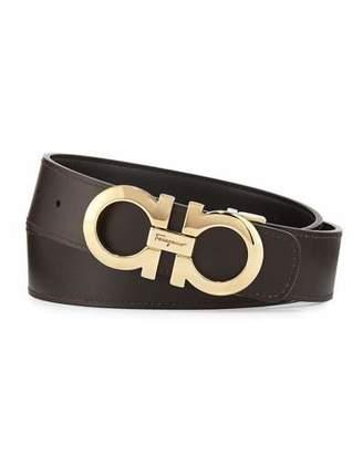 Salvatore Ferragamo Double-Gancio Reversible Leather Belt, Nero/Hickory $350 thestylecure.com