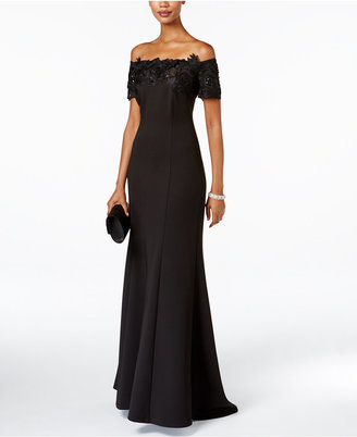SL Fashions Off-The-Shoulder Lace-Trim Gown $159 thestylecure.com