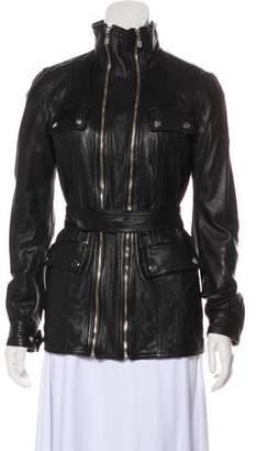 Belstaff Leather Belted Jacket