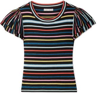 Alice + Olivia Alice Olivia - Kenia Ruffled Striped Stretch-jersey Top - Black