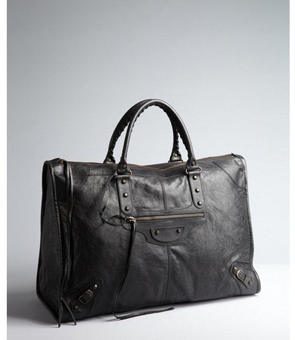 Balenciaga black lambskin 'Weekender' travel bag