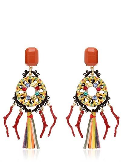 Dolce & Gabbana Clip On Pom Pom Raffia Earrings