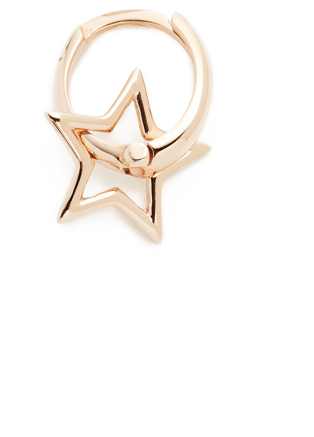 Kismet by Milka 14k Gold Sheriff Star Hoop Single Earring