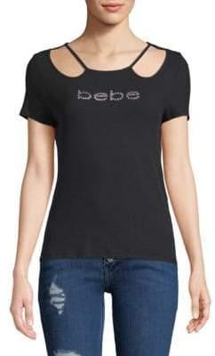 Bebe Logo Cold-Shoulder Top