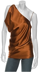 Diane von Furstenberg Charmeuse One Shoulder Ruched Top