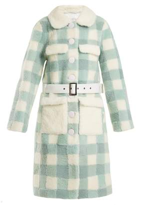 SAKS POTTS Lunis checked shearling coat