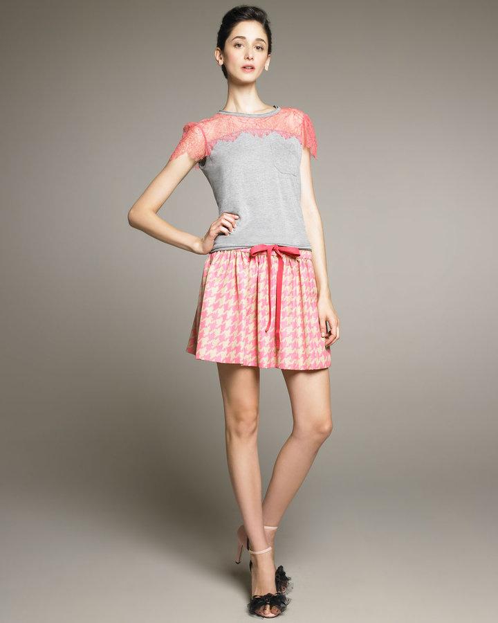 RED Valentino Drawstring Houndstooth Skirt