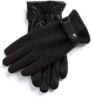 Dents Gloves Dents Malton Fleece Lined Corduroy & Leather Gloves in Black