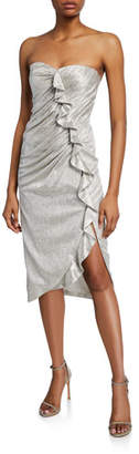 Jonathan Simkhai Plisse Metallic Bustier Ruffle Dress