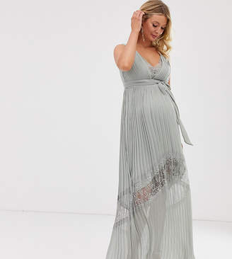 Little Mistress Maternity lace insert pleated maxi dress in waterlily
