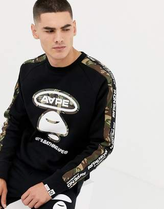 A Bathing Ape AAPE BY AAPE By Sweatshirt With Logo Taping In Black