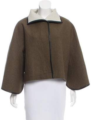 Maiyet Leather-Trimmed Wool Jacket