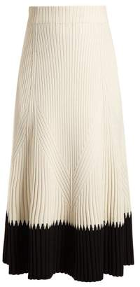 Alexander McQueen Contrast Hem Ribbed Midi Skirt - Womens - Ivory