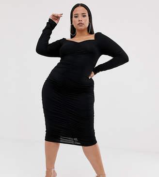 Asos DESIGN Curve square neck ruched midi dress