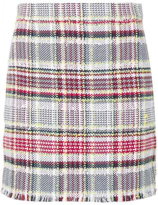 Thom Browne 4-BUTTON VENT MINI SKIRT WITH FRAY IN MADRAS COTTON TWEED
