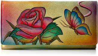 Anuschka Anna By Anuschka, Handpainted Leather Checkbook Wallet/Clutch,Rose Butterfly Wallet
