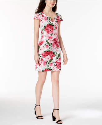 Connected Petite Floral-Print Split-Neck Dress
