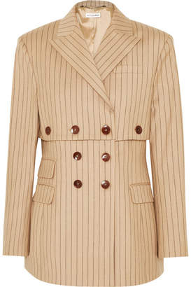 Altuzarra Double-breasted Pinstriped Wool-blend Blazer - Sand