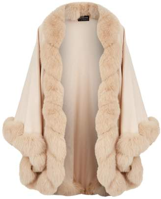 Harrods Fox Fur Trim Cashmere Cape