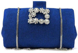 Roger Vivier Soft Embellished Flowers Glitter Clutch Bag
