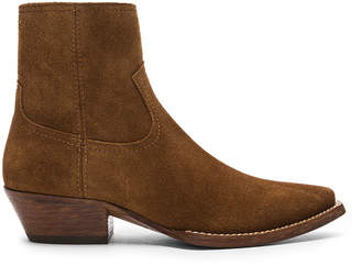Saint Laurent Suede Lukas Western Boots in Hazelnut | FWRD