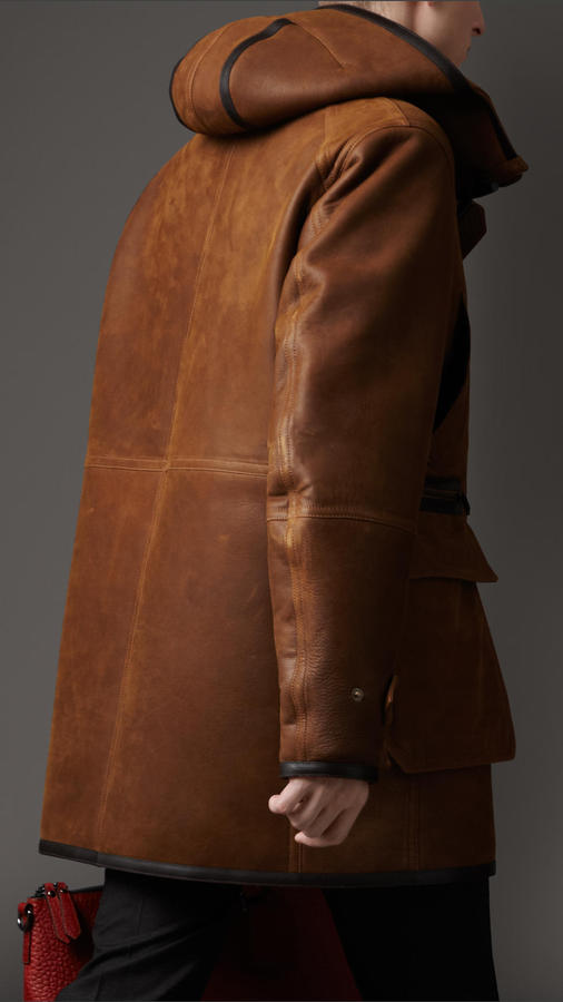 Burberry Leather Trim Hooded Shearling Parka