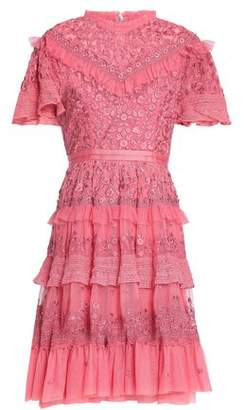 Needle & Thread Woman Tiered Ruffle-trimmed Embroidered Tulle Dress Bright Pink Size 10