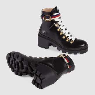 Gucci Leather ankle boot with Sylvie Web