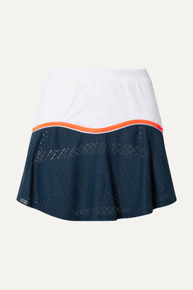 L'Etoile Sport - Stretch-jersey And Pointelle-knit Tennis Skirt - Cobalt blue