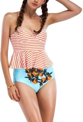 08cad70180 WSLCN Recto-Verso Pattern Bikini 2 Piece Girls Beachwear Women Vintage  Swimsuit Retro Bikini High