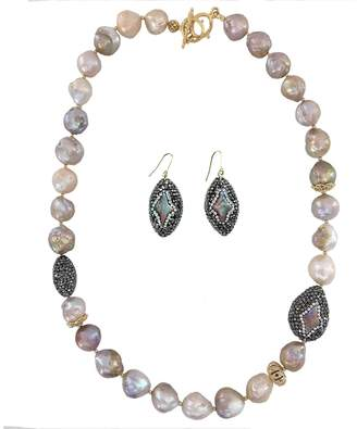 Farra - Edison Freshwater Pearls & Rhinestones Short Necklace With Earrings Christmas Gift Set