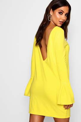 boohoo Low Back Flute Sleeve Shift Dress