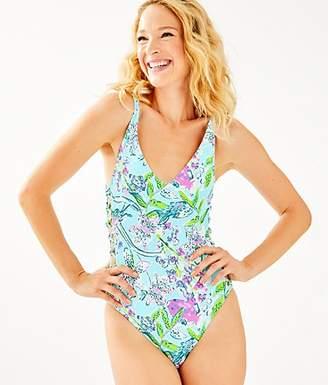 cc4a3f2fdf796 Lilly Pulitzer Dalian Side Lattice One-Piece Swimsuit