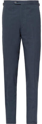 P. Johnson Storm-Blue Slim-Fit Cotton-Seersucker Suit Trousers