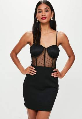 Missguided Black Strappy Bust Cup Lace Insert Dress, Black