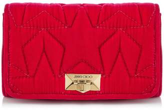 Jimmy Choo HELIA CLUTCH Raspberry Velvet Clutch with Chain Strap